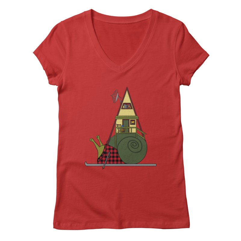A-Frame Snail Women's Regular V-Neck by The Art of Rosemary