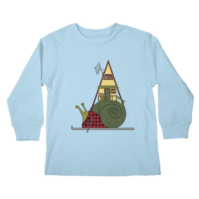 A-Frame Snail Kids Longsleeve T-Shirt by The Art of Rosemary