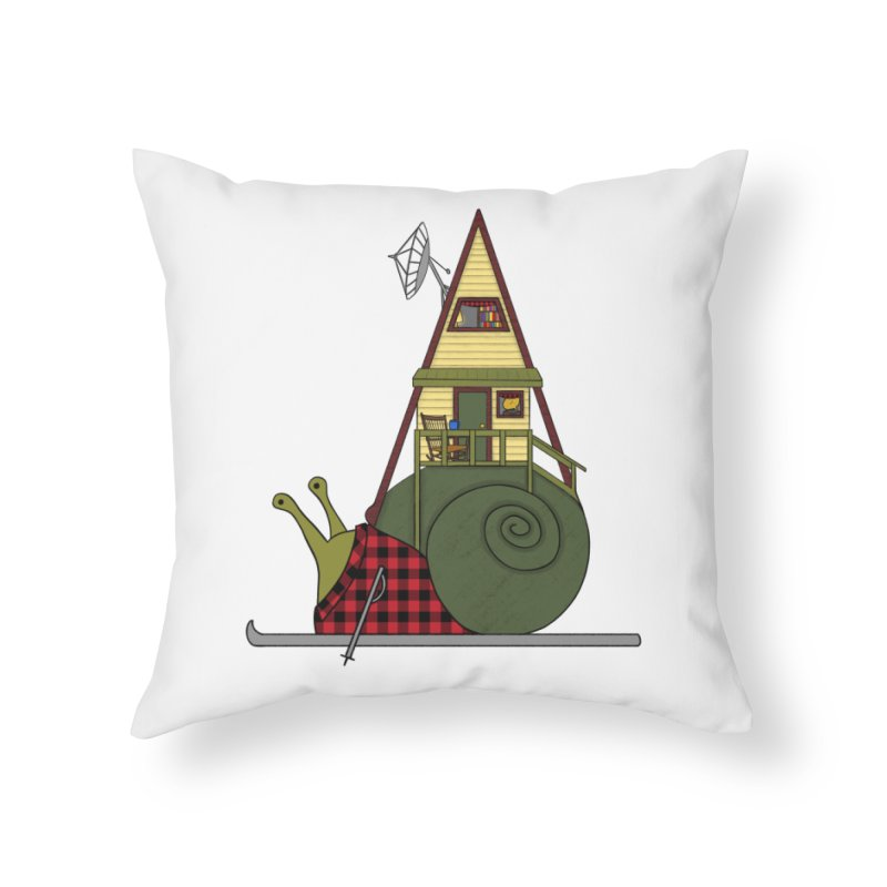 A-Frame Snail Home Throw Pillow by The Art of Rosemary