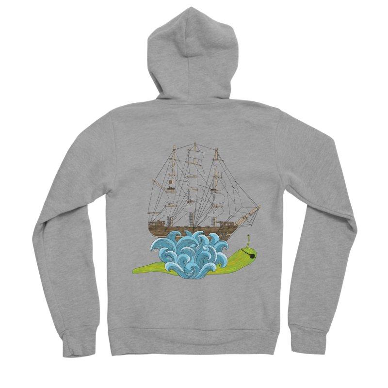 Ship Snail Men's Sponge Fleece Zip-Up Hoody by The Art of Rosemary