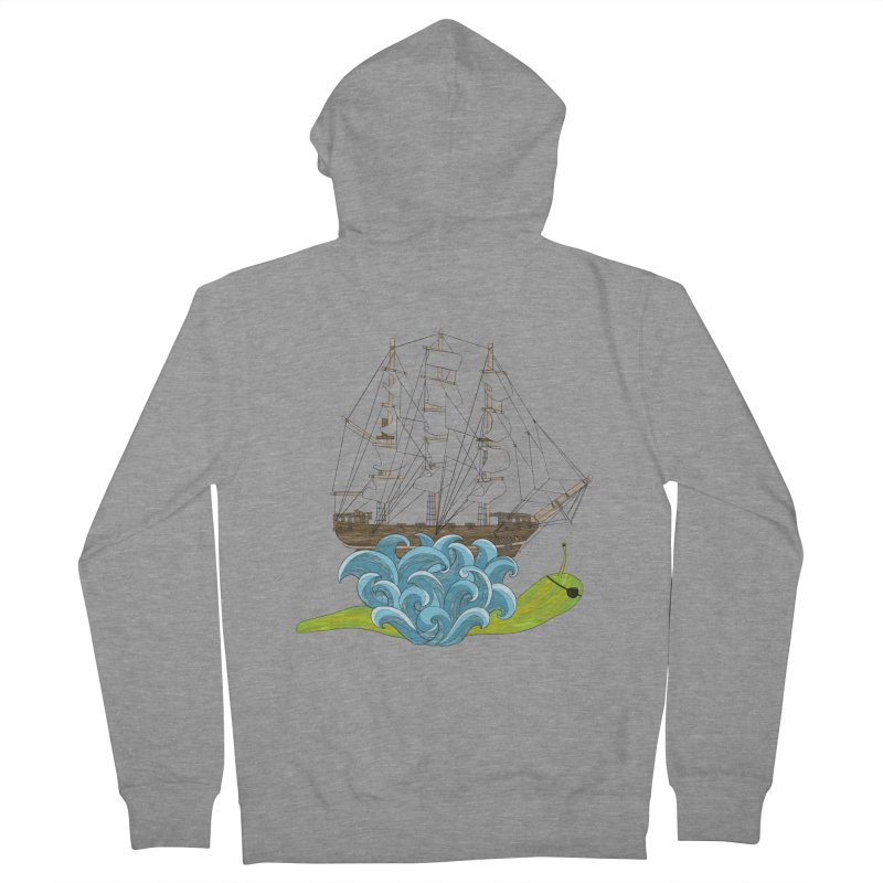Ship Snail Men's French Terry Zip-Up Hoody by The Art of Rosemary