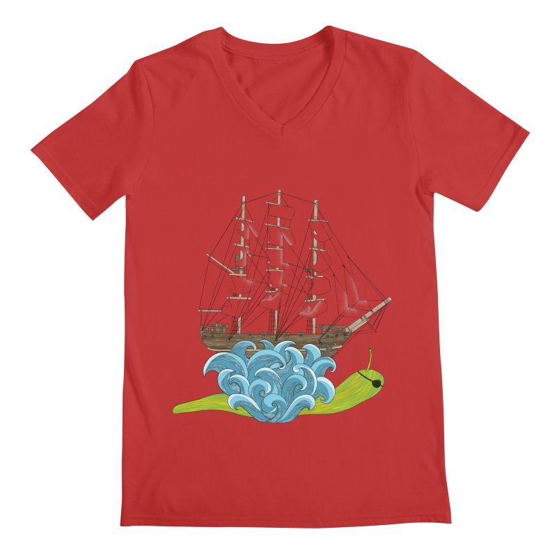 Ship Snail Men's Regular V-Neck by The Art of Rosemary
