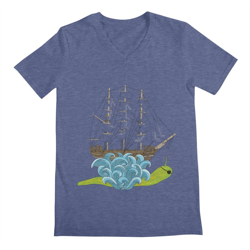 Ship Snail Men's Regular V-Neck by The Art of Rosemary
