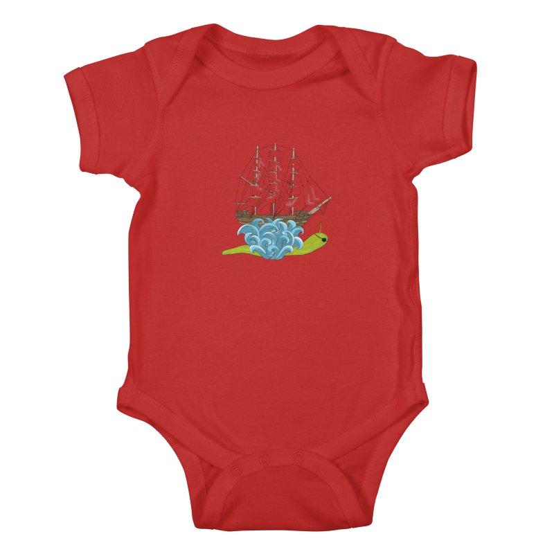 Ship Snail Kids Baby Bodysuit by The Art of Rosemary
