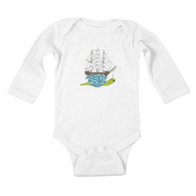 Ship Snail Kids Baby Longsleeve Bodysuit by The Art of Rosemary