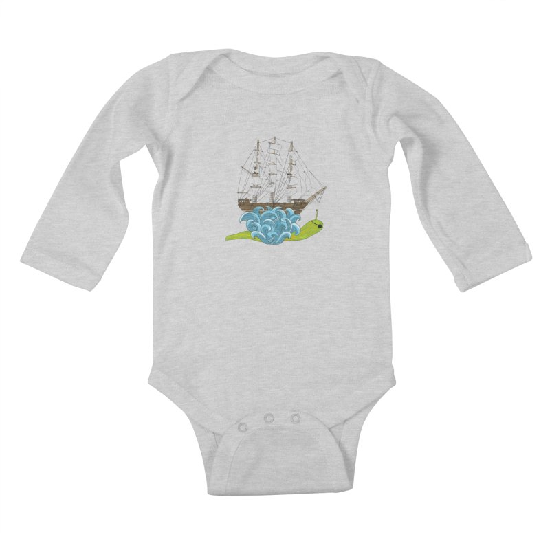 Ship Snail Kids Baby Longsleeve Bodysuit by The Art of Rosemary