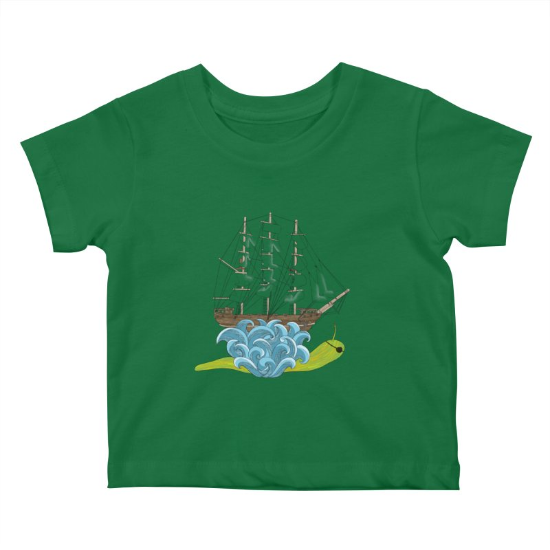 Ship Snail Kids Baby T-Shirt by The Art of Rosemary