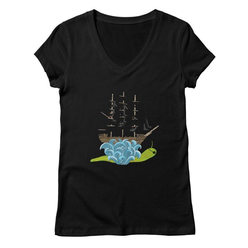 Ship Snail Women's V-Neck by The Art of Rosemary