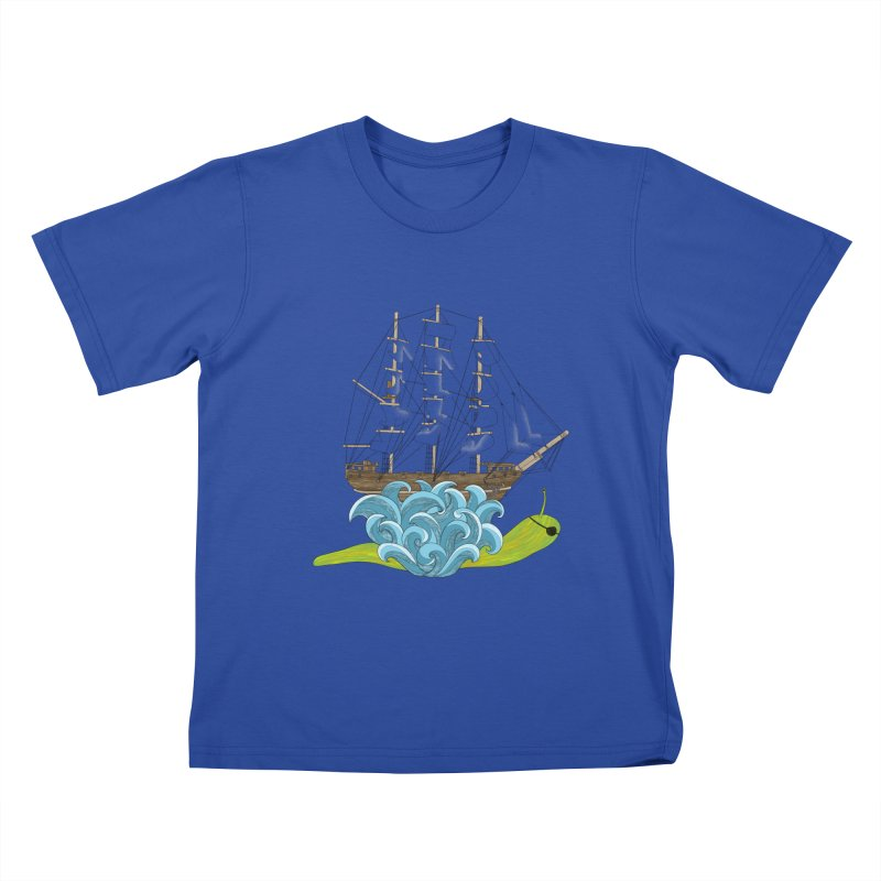 Ship Snail Kids T-Shirt by The Art of Rosemary