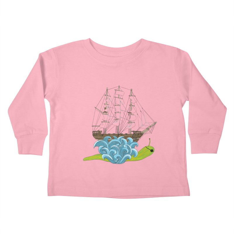Ship Snail Kids Toddler Longsleeve T-Shirt by The Art of Rosemary