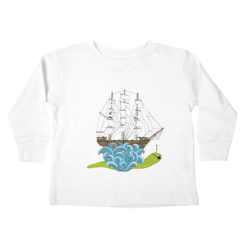 Ship Snail Kids Toddler Longsleeve T-Shirt by The Art of Rosemary