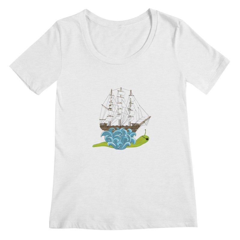 Ship Snail Women's Regular Scoop Neck by The Art of Rosemary