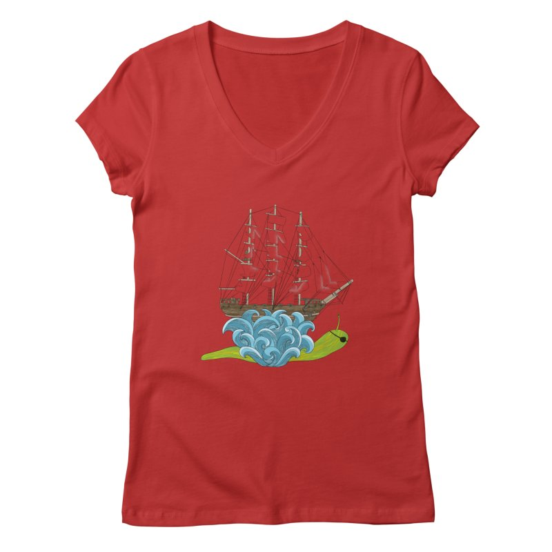 Ship Snail Women's Regular V-Neck by The Art of Rosemary