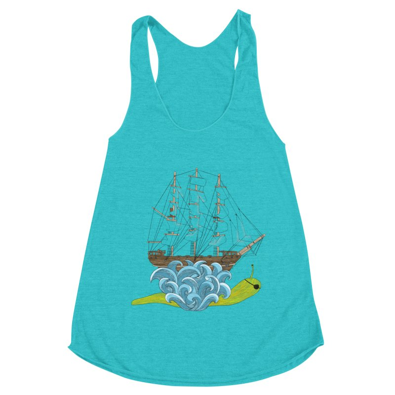 Ship Snail Women's Racerback Triblend Tank by The Art of Rosemary