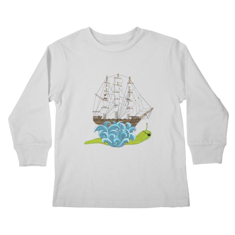 Ship Snail Kids Longsleeve T-Shirt by The Art of Rosemary