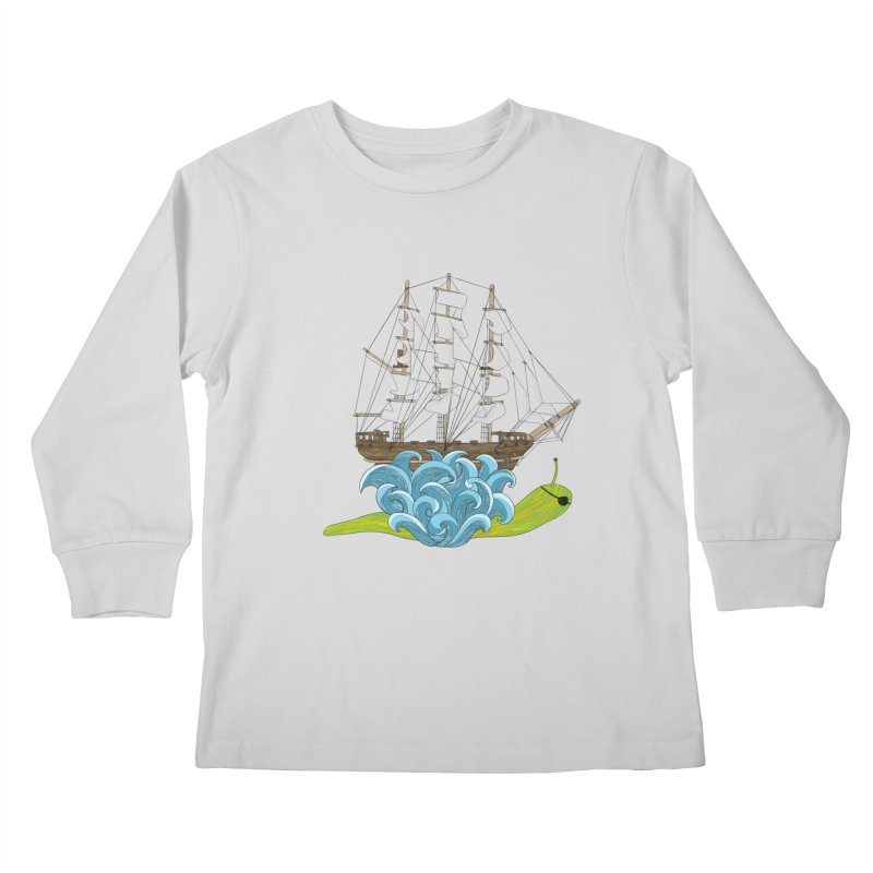 Ship Snail Kids Longsleeve T-Shirt by The Art of Rosemary