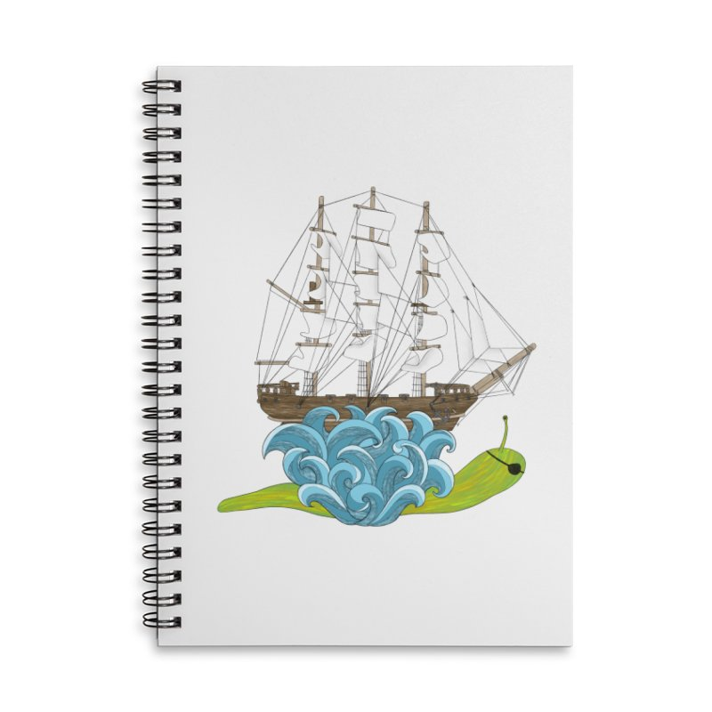 Ship Snail Accessories Lined Spiral Notebook by The Art of Rosemary