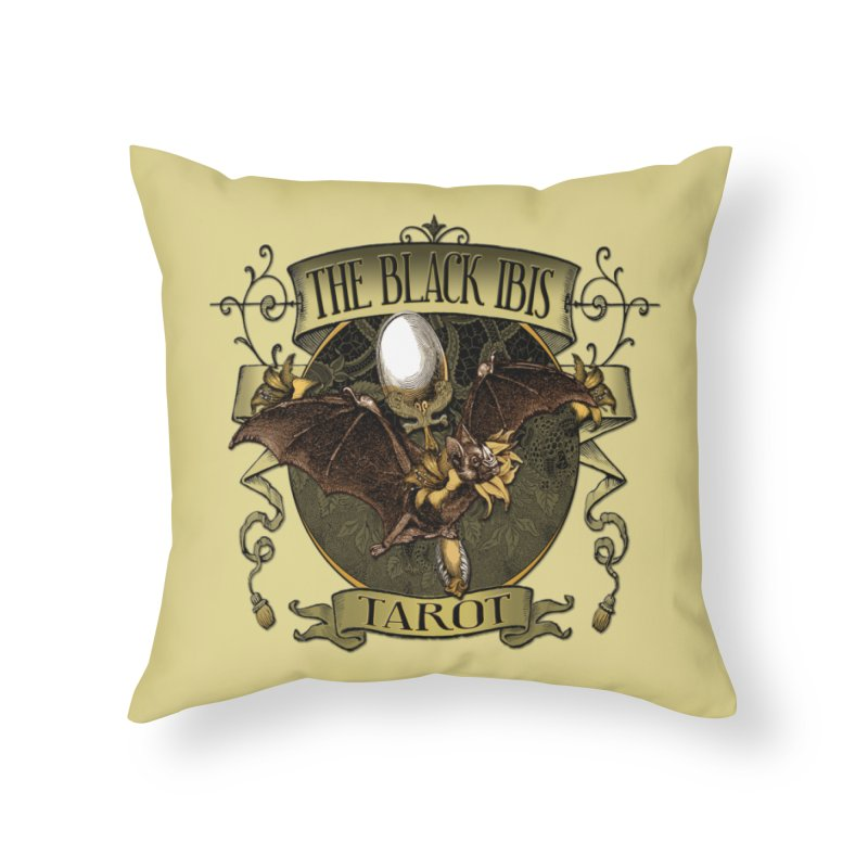 The Black Ibis Tarot Queen Bat Tee Home Throw Pillow by theatticshoppe's Artist Shop