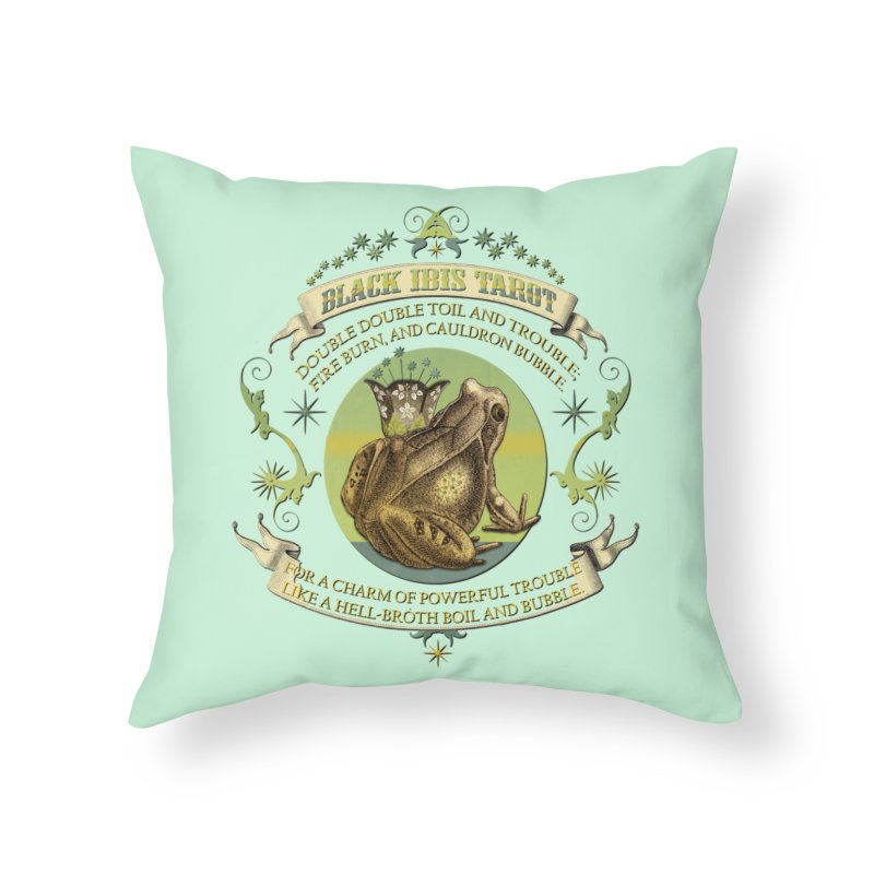 Black Ibis Tarot Frog Brew Tee Home Throw Pillow by theatticshoppe's Artist Shop