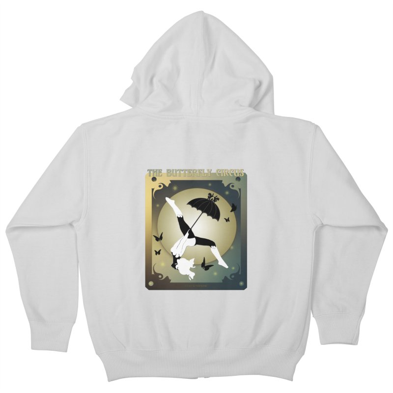 The Butterfly Circus Over the Moon Design Kids Zip-Up Hoody by theatticshoppe's Artist Shop