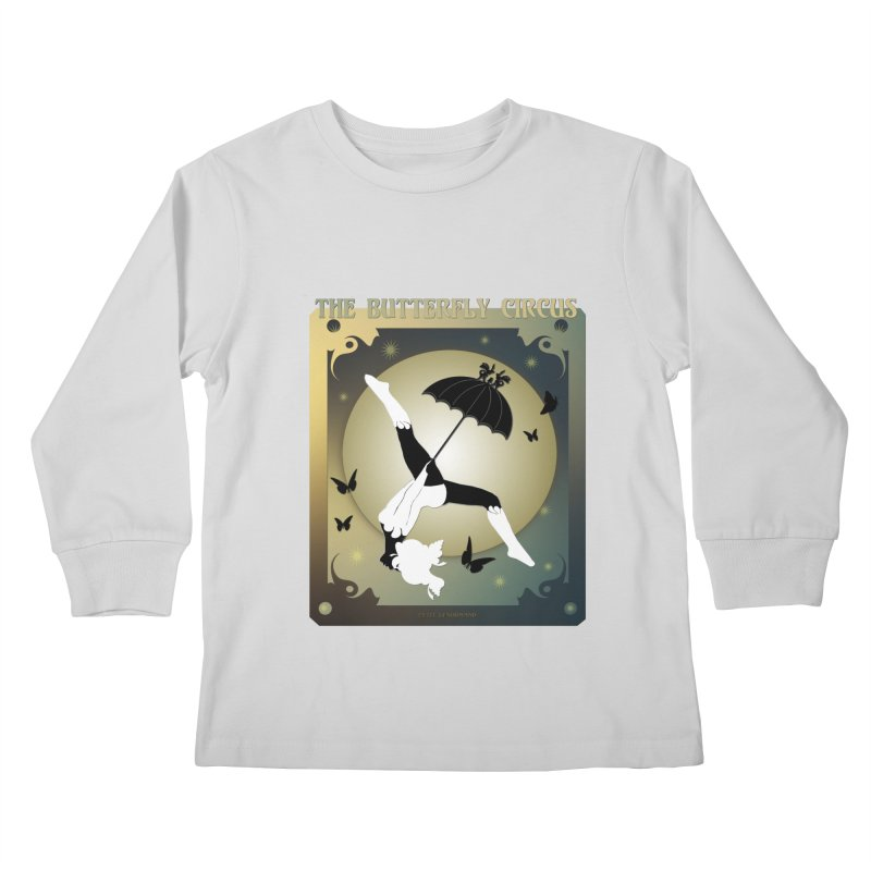 The Butterfly Circus Over the Moon Design Kids Longsleeve T-Shirt by theatticshoppe's Artist Shop