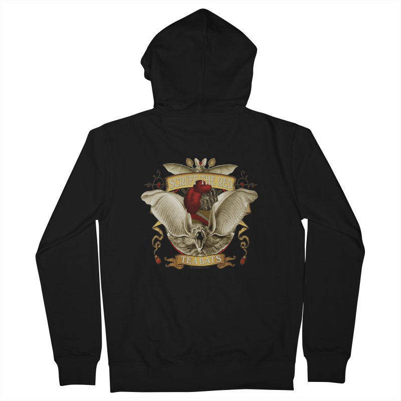 Tea Bats Scruff the Red Men's French Terry Zip-Up Hoody by theatticshoppe's Artist Shop