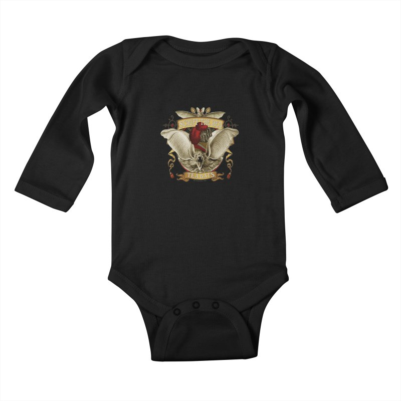 Tea Bats Scruff the Red Kids Baby Longsleeve Bodysuit by theatticshoppe's Artist Shop