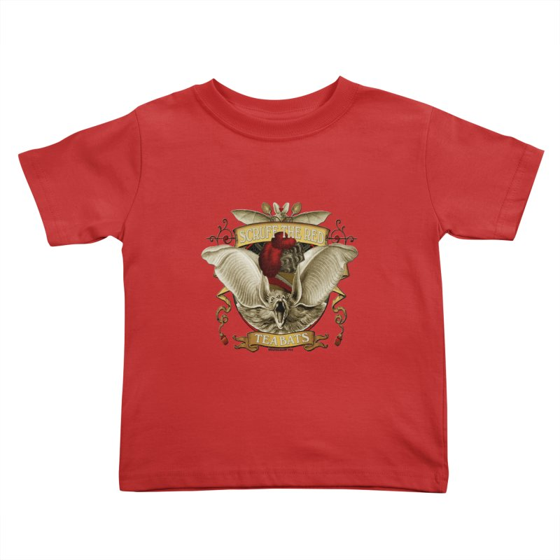 Tea Bats Scruff the Red Kids Toddler T-Shirt by theatticshoppe's Artist Shop