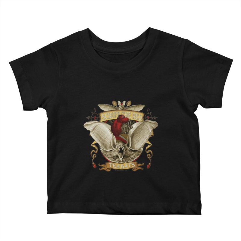 Tea Bats Scruff the Red Kids Baby T-Shirt by theatticshoppe's Artist Shop