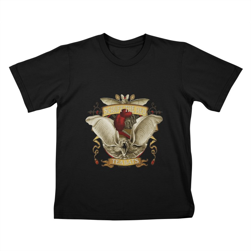 Tea Bats Scruff the Red Kids T-Shirt by theatticshoppe's Artist Shop