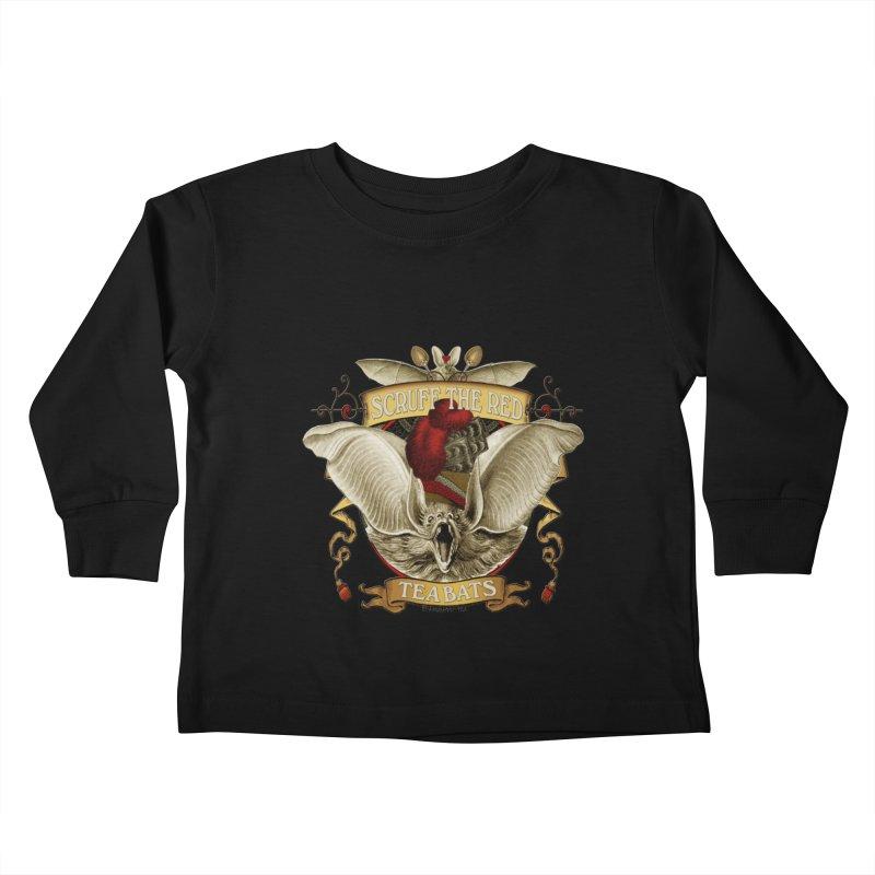 Tea Bats Scruff the Red Kids Toddler Longsleeve T-Shirt by theatticshoppe's Artist Shop