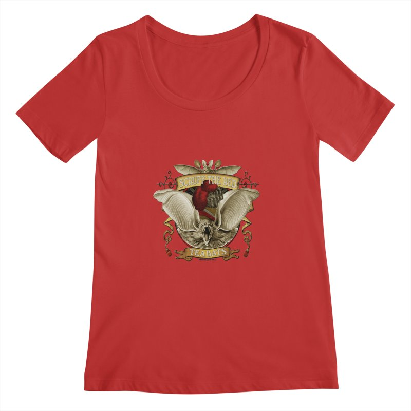 Tea Bats Scruff the Red Women's Regular Scoop Neck by theatticshoppe's Artist Shop