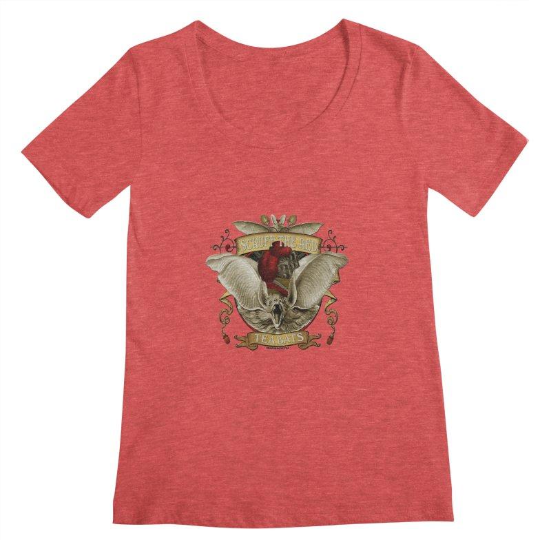 Tea Bats Scruff the Red Women's Scoopneck by theatticshoppe's Artist Shop