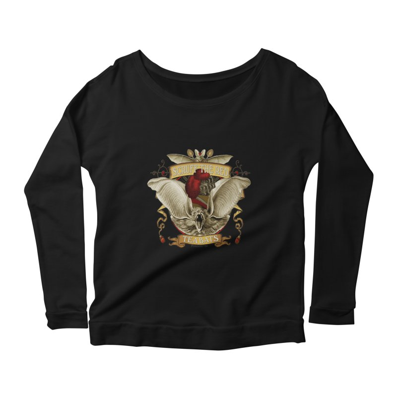 Tea Bats Scruff the Red Women's Longsleeve Scoopneck  by theatticshoppe's Artist Shop