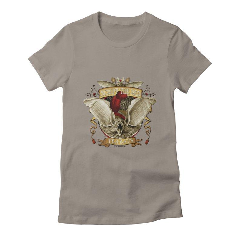 Tea Bats Scruff the Red Women's Fitted T-Shirt by theatticshoppe's Artist Shop