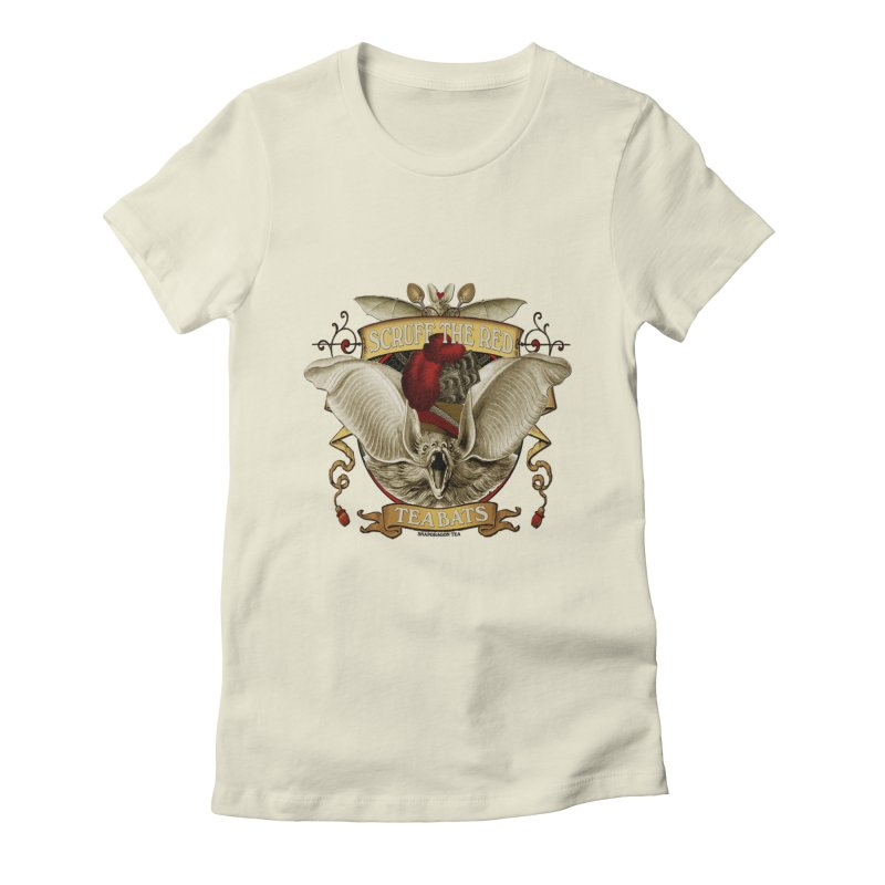 Tea Bats Scruff the Red Women's Fitted T-Shirt by theatticshoppe's Artist Shop