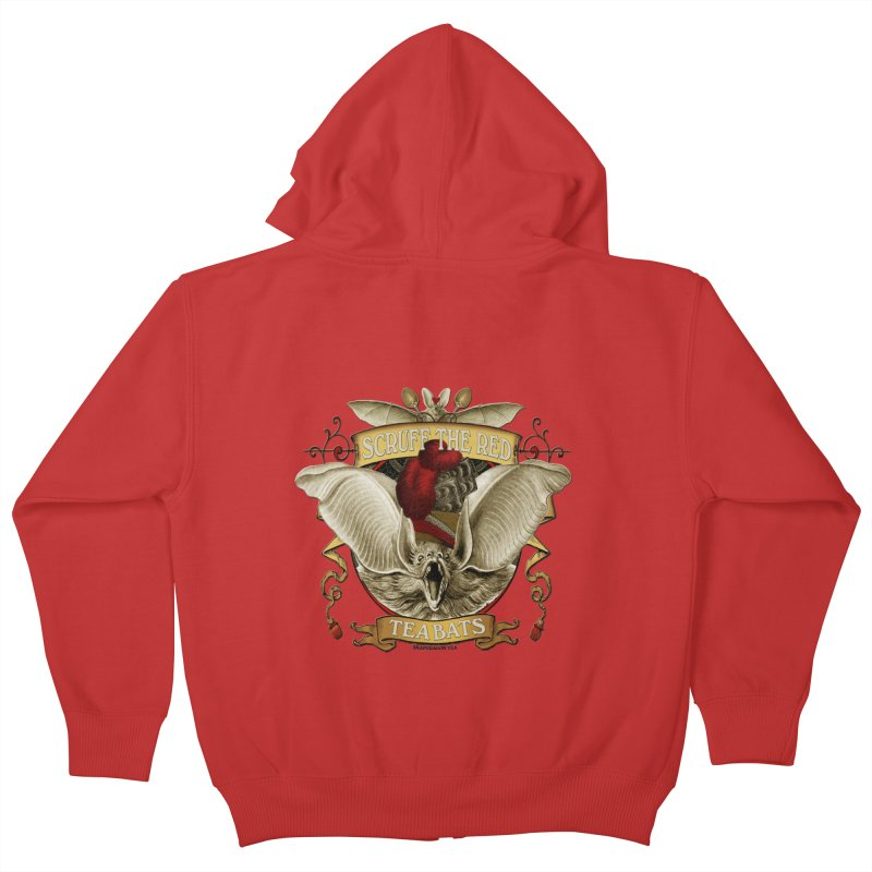 Tea Bats Scruff the Red Kids Zip-Up Hoody by theatticshoppe's Artist Shop