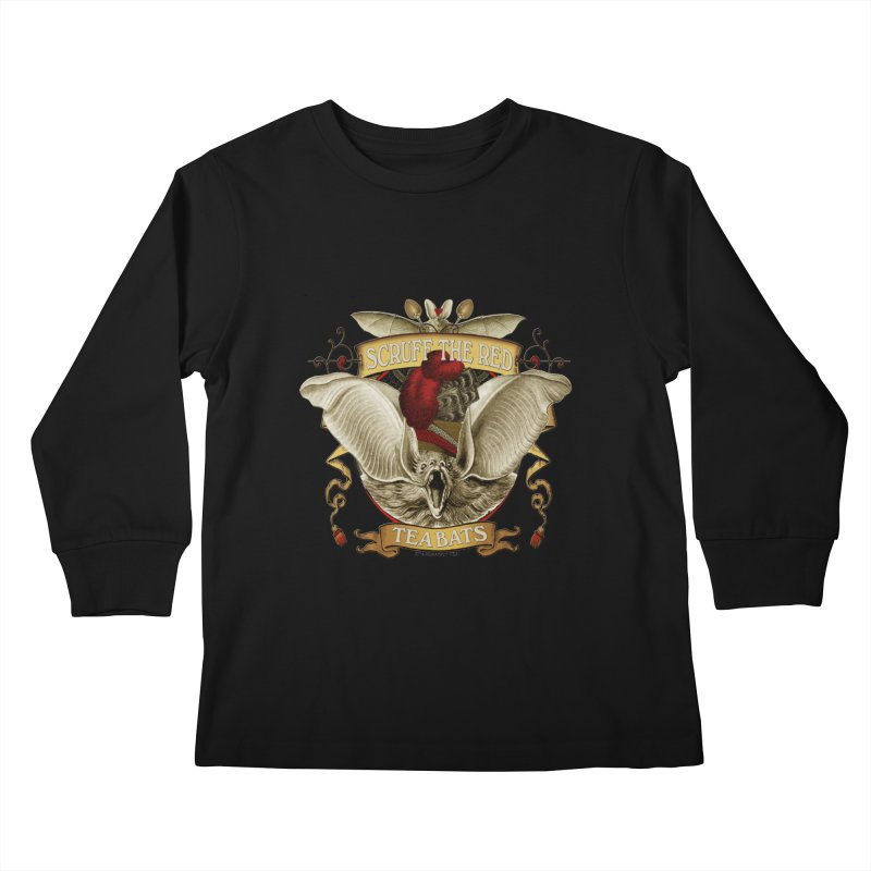 Tea Bats Scruff the Red Kids Longsleeve T-Shirt by theatticshoppe's Artist Shop