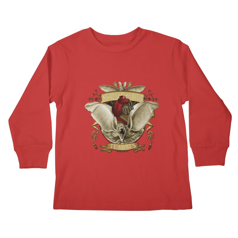Tea Bats Scruff the Red Kids Longsleeve T-Shirt by theatticshoppe's Artist Shop