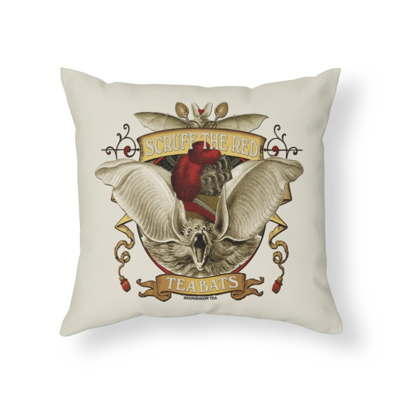 Tea Bats Scruff the Red Home Throw Pillow by theatticshoppe's Artist Shop