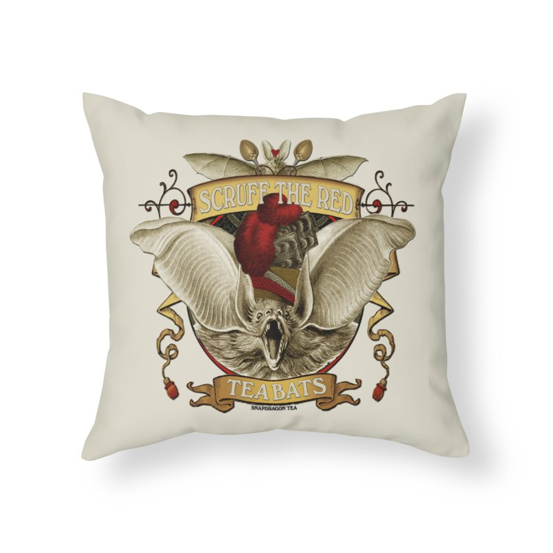 Tea Bats Scruff the Red Home Throw Pillow by theatticshoppe's Artist Shop