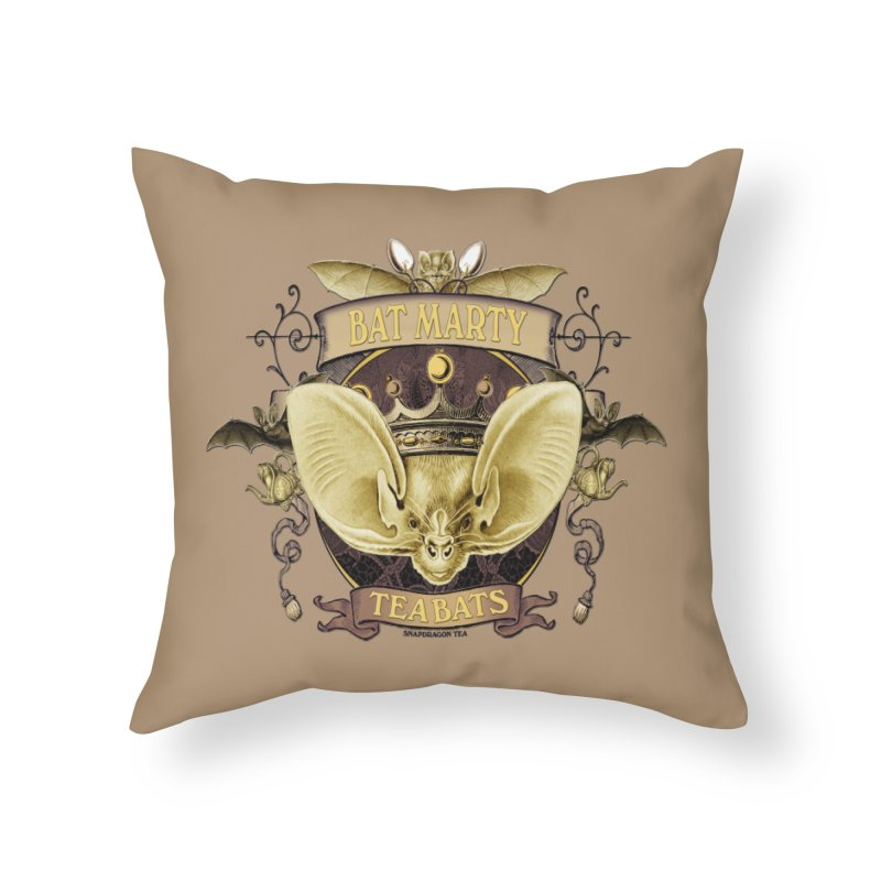 Tea Bats Bat Marty Home Throw Pillow by theatticshoppe's Artist Shop