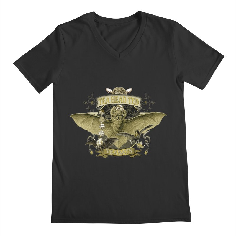 Tea Bats Tea Head Ted Men's Regular V-Neck by theatticshoppe's Artist Shop