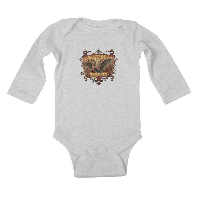 Tea Bats Baroness Von Spiffy Lux Kids Baby Longsleeve Bodysuit by theatticshoppe's Artist Shop