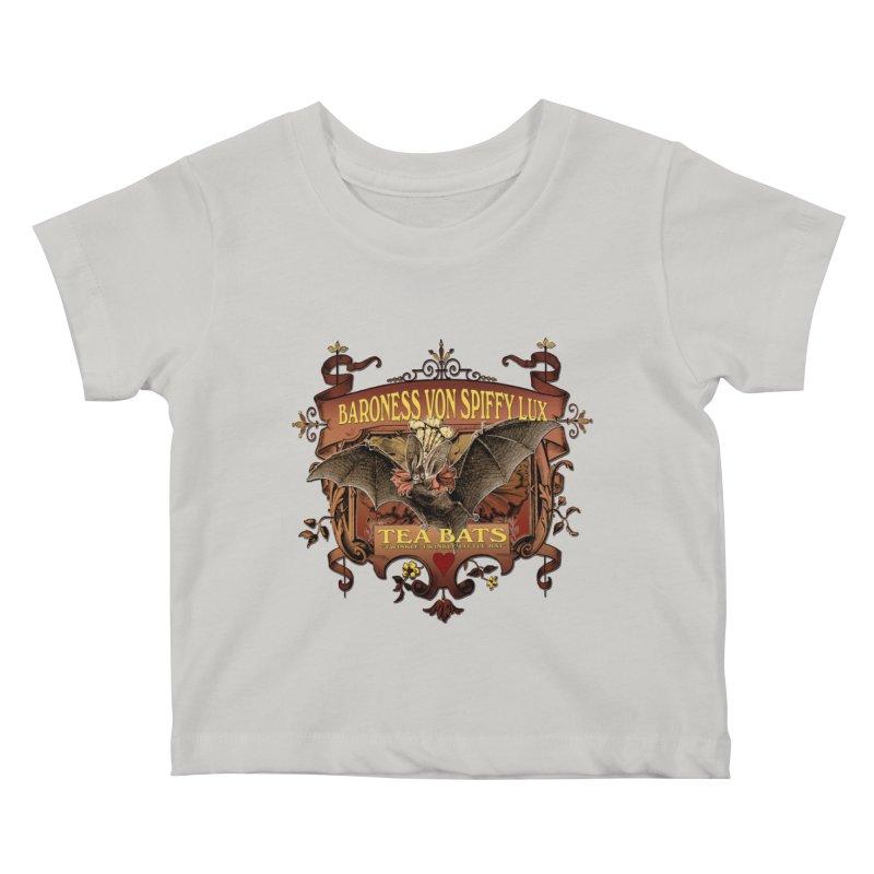 Tea Bats Baroness Von Spiffy Lux Kids Baby T-Shirt by theatticshoppe's Artist Shop