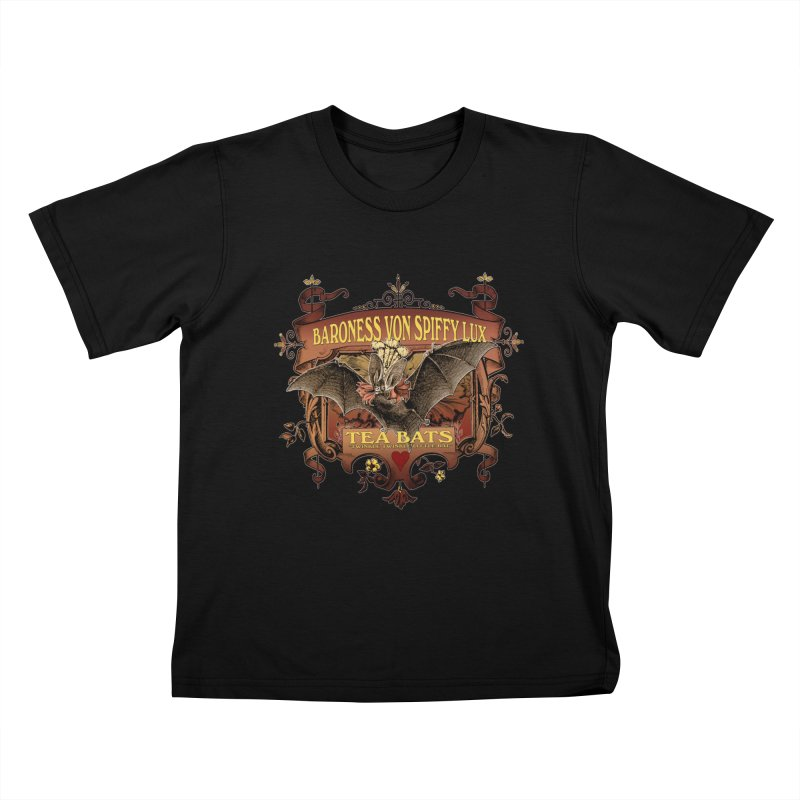 Tea Bats Baroness Von Spiffy Lux Kids T-Shirt by theatticshoppe's Artist Shop