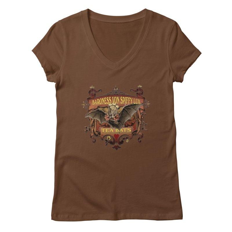 Tea Bats Baroness Von Spiffy Lux Women's Regular V-Neck by theatticshoppe's Artist Shop