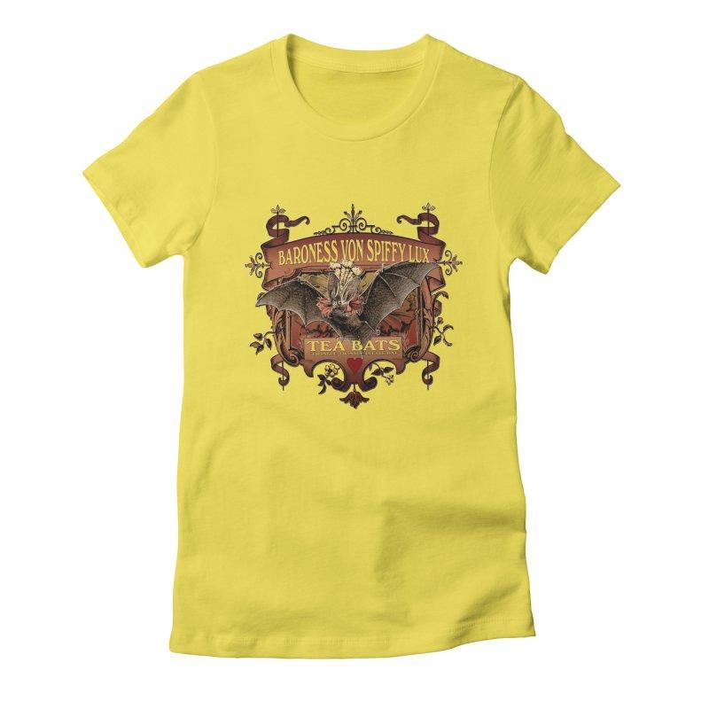Tea Bats Baroness Von Spiffy Lux Women's Fitted T-Shirt by theatticshoppe's Artist Shop