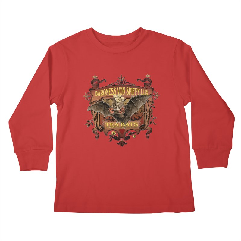 Tea Bats Baroness Von Spiffy Lux Kids Longsleeve T-Shirt by theatticshoppe's Artist Shop