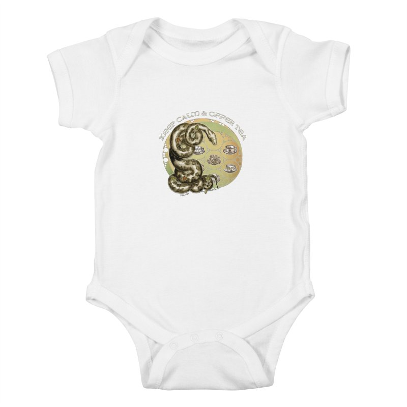 Tea Tee - Keep Calm & Offer Tea Kids Baby Bodysuit by theatticshoppe's Artist Shop